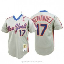 Mens Mitchell And Ness Keith Hernandez New York Mets #17 Replica Grey Throwback A592 Jersey