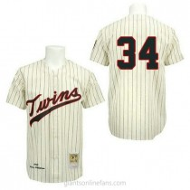 Mens Mitchell And Ness Kirby Puckett Minnesota Twins #34 Authentic Cream 1969 Throwback A592 Jersey