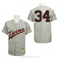 Mens Mitchell And Ness Kirby Puckett Minnesota Twins #34 Authentic Grey 1969 Throwback A592 Jersey