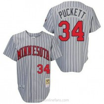 Mens Mitchell And Ness Kirby Puckett Minnesota Twins #34 Authentic Grey 1987 Throwback A592 Jersey