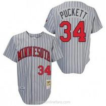 Mens Mitchell And Ness Kirby Puckett Minnesota Twins #34 Replica Grey 1987 Throwback A592 Jerseys