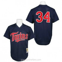 Mens Mitchell And Ness Kirby Puckett Minnesota Twins #34 Replica Navy Blue 1991 Throwback A592 Jersey