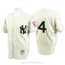 Mens Mitchell And Ness Lou Gehrig New York Yankees #4 Authentic White Throwback A592 Jerseys
