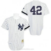 Mens Mitchell And Ness Mariano Rivera New York Yankees #42 Authentic White Practice Throwback A592 Jersey