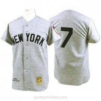 Mens Mitchell And Ness Mickey Mantle New York Yankees #7 Authentic Grey 1951 Throwback A592 Jerseys