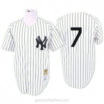 Mens Mitchell And Ness Mickey Mantle New York Yankees #7 Authentic White 1951 Throwback A592 Jerseys