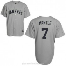 Mens Mitchell And Ness Mickey Mantle New York Yankees #7 Replica Grey Throwback A592 Jersey
