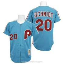 Mens Mitchell And Ness Mike Schmidt Philadelphia Phillies #20 Authentic Blue Throwback A592 Jersey
