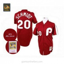 Mens Mitchell And Ness Mike Schmidt Philadelphia Phillies #20 Authentic Red Throwback A592 Jersey