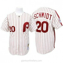 Mens Mitchell And Ness Mike Schmidt Philadelphia Phillies #20 Authentic White Red Strip Throwback A592 Jersey