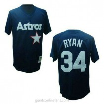 Mens Mitchell And Ness Nolan Ryan Houston Astros #34 Authentic Blue Throwback A592 Jerseys