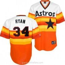 Mens Mitchell And Ness Nolan Ryan Houston Astros #34 Authentic White Orange Throwback A592 Jerseys