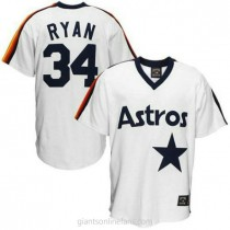 Mens Mitchell And Ness Nolan Ryan Houston Astros #34 Authentic White Throwback A592 Jersey