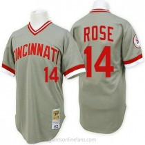 Mens Mitchell And Ness Pete Rose Cincinnati Reds #14 Authentic Grey Throwback A592 Jersey