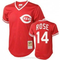 Mens Mitchell And Ness Pete Rose Cincinnati Reds #14 Authentic Red Throwback A592 Jersey