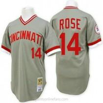 Mens Mitchell And Ness Pete Rose Cincinnati Reds #14 Replica Grey Throwback A592 Jerseys