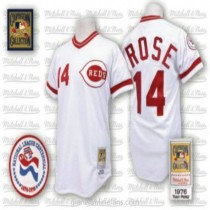 Mens Mitchell And Ness Pete Rose Cincinnati Reds #14 Replica White Throwback A592 Jersey