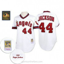Mens Mitchell And Ness Reggie Jackson Los Angeles Angels Of Anaheim #44 Replica White Throwback A592 Jersey