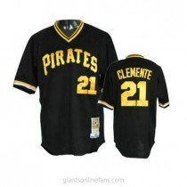 Mens Mitchell And Ness Roberto Clemente Pittsburgh Pirates #21 Authentic Black Throwback A592 Jerseys