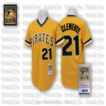 Mens Mitchell And Ness Roberto Clemente Pittsburgh Pirates #21 Authentic Gold Throwback A592 Jersey