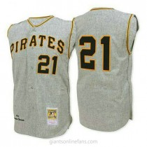 Mens Mitchell And Ness Roberto Clemente Pittsburgh Pirates #21 Authentic Grey 1962 Throwback A592 Jersey