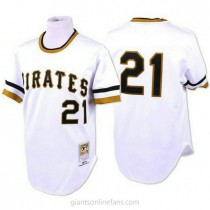 Mens Mitchell And Ness Roberto Clemente Pittsburgh Pirates #21 Authentic White Throwback A592 Jerseys