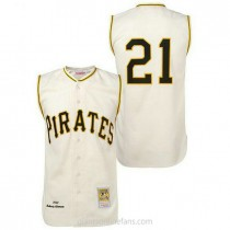 Mens Mitchell And Ness Roberto Clemente Pittsburgh Pirates #21 Replica Cream 1960 Throwback A592 Jersey