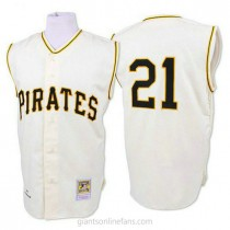 Mens Mitchell And Ness Roberto Clemente Pittsburgh Pirates #21 Replica White 1960 Throwback A592 Jersey