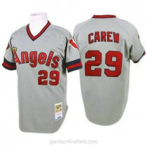 Mens Mitchell And Ness Rod Carew Los Angeles Angels Of Anaheim #29 Authentic Grey 1985 Throwback A592 Jersey