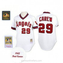 Mens Mitchell And Ness Rod Carew Los Angeles Angels Of Anaheim #29 Authentic White Throwback A592 Jersey