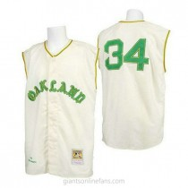 Mens Mitchell And Ness Rollie Fingers Oakland Athletics #34 Authentic Cream 1968 Throwback A592 Jersey