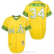 Mens Mitchell And Ness Rollie Fingers Oakland Athletics #34 Authentic Gold Throwback A592 Jerseys