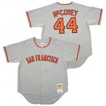 Mens Mitchell And Ness San Francisco Giants #44 Willie Mccovey Replica Grey Throwback Jersey
