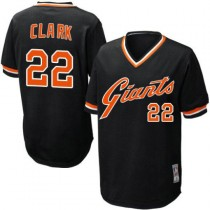 Mens Mitchell And Ness San Francisco Giants Will Clark Replica Black Throwback Jersey