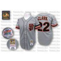 Mens Mitchell And Ness San Francisco Giants Will Clark Replica Grey Throwback Jersey