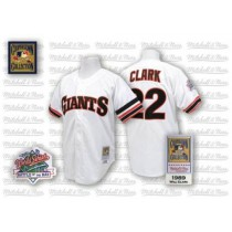 Mens Mitchell And Ness San Francisco Giants Will Clark Replica White Throwback Jersey