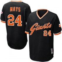 Mens Mitchell And Ness San Francisco Giants Willie Mays Replica Black Throwback Jersey