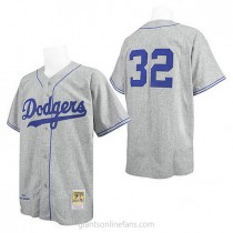 Mens Mitchell And Ness Sandy Koufax Los Angeles Dodgers #32 Authentic Gray Throwback Mlb A592 Jersey
