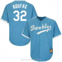 Mens Mitchell And Ness Sandy Koufax Los Angeles Dodgers #32 Authentic Light Blue Throwback Mlb A592 Jersey