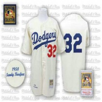 Mens Mitchell And Ness Sandy Koufax Los Angeles Dodgers #32 Authentic White Throwback Mlb A592 Jersey