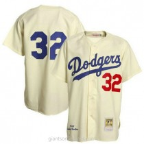 Mens Mitchell And Ness Sandy Koufax Los Angeles Dodgers #32 Replica Cream Throwback Mlb A592 Jersey