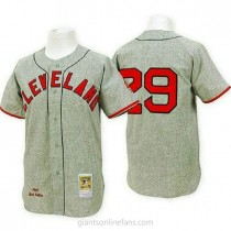 Mens Mitchell And Ness Satchel Paige Cleveland Indians Authentic Grey 1948 Throwback A592 Jersey