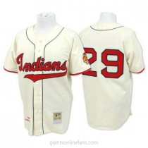 Mens Mitchell And Ness Satchel Paige Cleveland Indians Replica Cream Throwback A592 Jersey