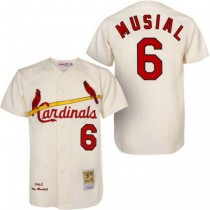 Mens Mitchell And Ness Stan Musial St Louis Cardinals #6 Cream 1963 Throwback A592 Jersey Authentic