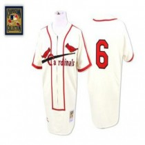 Mens Mitchell And Ness Stan Musial St Louis Cardinals #6 Cream Throwback A592 Jersey Authentic