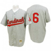 Mens Mitchell And Ness Stan Musial St Louis Cardinals #6 Grey 1956 Throwback A592 Jerseys Authentic
