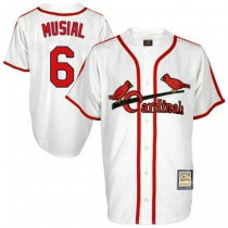 Mens Mitchell And Ness Stan Musial St Louis Cardinals #6 White Throwback A592 Jersey Replica