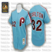 Mens Mitchell And Ness Steve Carlton Philadelphia Phillies #32 Authentic Blue Throwback A592 Jersey