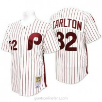 Mens Mitchell And Ness Steve Carlton Philadelphia Phillies #32 Authentic White Red Strip Throwback A592 Jersey