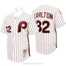 Mens Mitchell And Ness Steve Carlton Philadelphia Phillies #32 Replica White Red Strip Throwback A592 Jerseys
